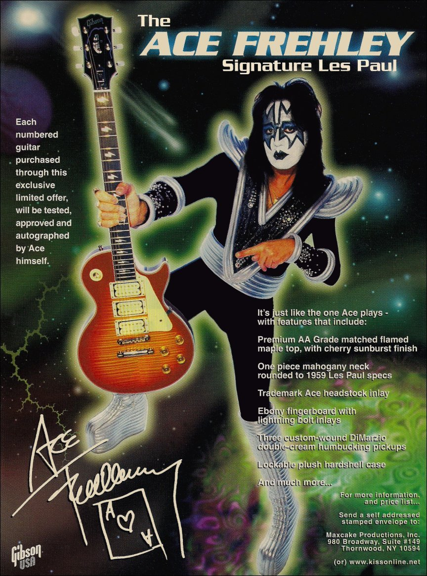 Primary image for KISS Band Ace Frehley Gibson Les Paul Reproduction Stand-Up Display Collectibles
