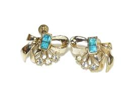 Blue and White Rhinestone Screw Back Earrings, - $14.55