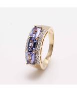 14KT Yellow Gold Ring with Rare Tanzanite and Natural Diamond Ring - $898.40