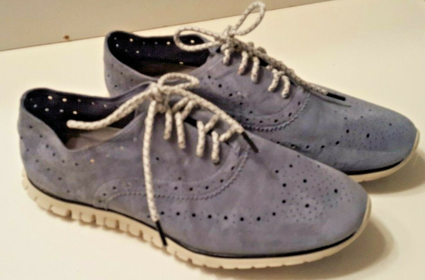 Women's COLE HAAN ZERO GRAND Gray Suede Wingtip Oxford Lace Up Shoes Size 6.5M