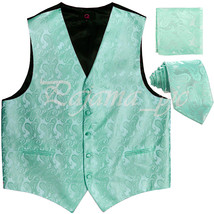 Aqua Green XS to 6XL Paisley Tuxedo Suit Dress Vest Waistcoat & Neck tie... - $23.74+