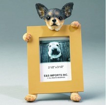 """CHIHUAHUA BLACK DOG PHOTO PICTURE FRAME GIFT RESIN 2-1/2""""X3-1/2"""" - $14.95"""