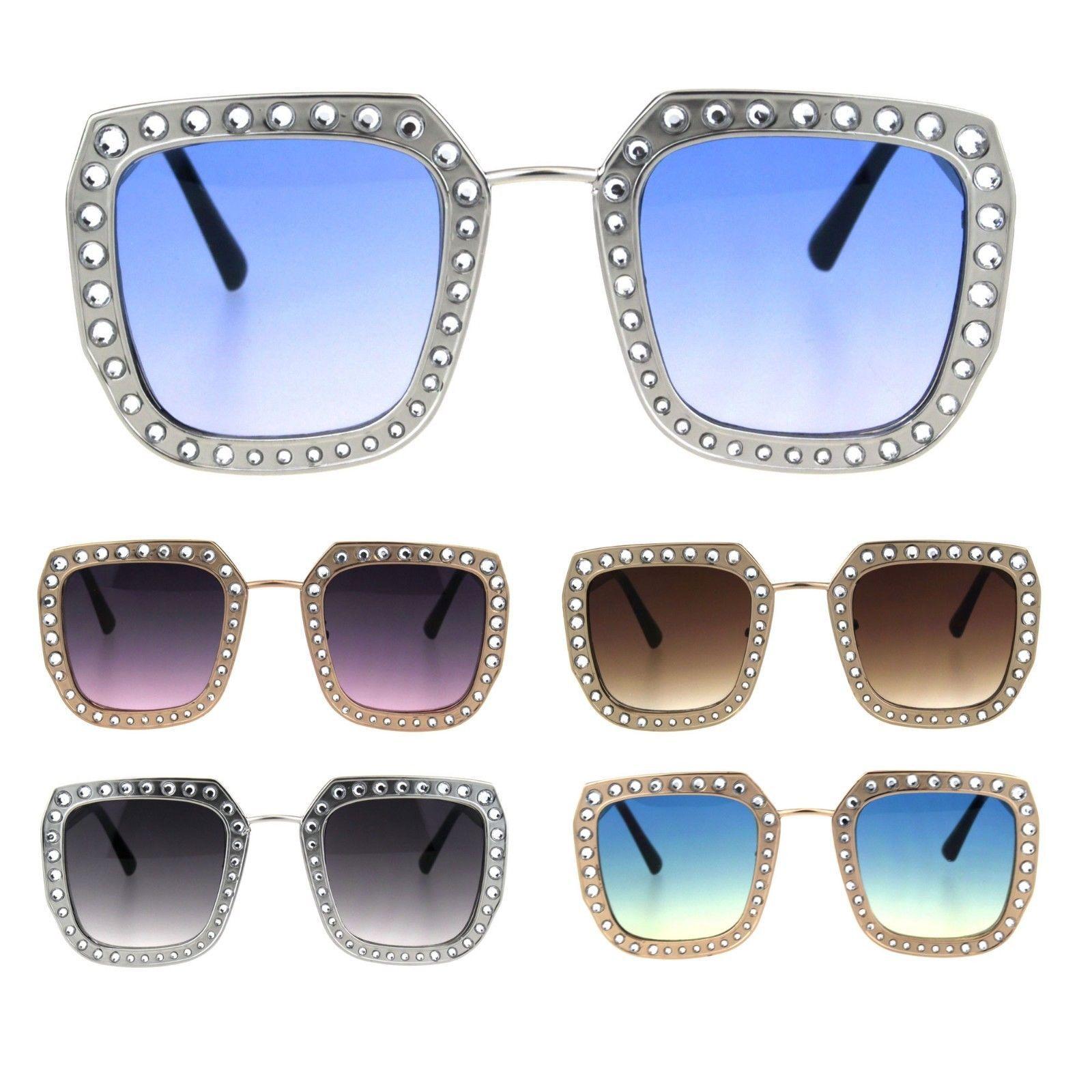 Rhinestone Iced Thick Metal Oceanic Gradient Lens Designer Sunglasses