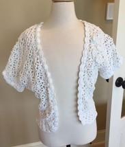 Justice White Cardigan Sweater Crochet Open Weave Girls size 16/18 - $12.99