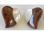 "Red Jasper Mother of Pearl Heart Shape Gemstone 1"" Pierced Stud Earrings"