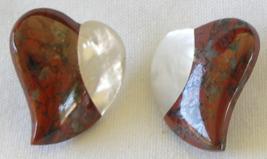 """Red Jasper Mother of Pearl Heart Shape Gemstone 1"""" Pierced Stud Earrings  - $17.99"""