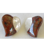 "Red Jasper Mother of Pearl Heart Shape Gemstone 1"" Pierced Stud Earrings  - $17.99"