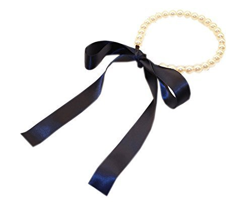 Back to 1970s Vintage Strap Headband Big Beads Navy Ribbon Hair Band