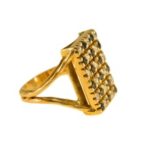 Vintage 18 k Gold Diamond and Sapphire Statement Ring Size O BHS - $1,516.01