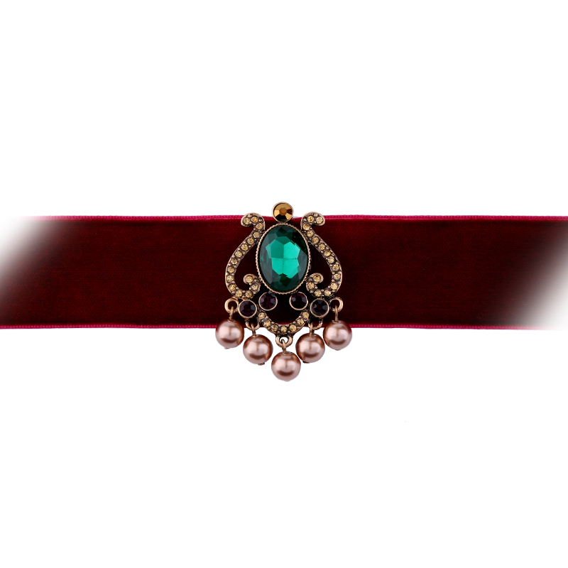 New Brand Wide Red Choker Necklace Geometric Crystal Simulated Pearls Jewelry