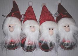 Set Of 4 Santa Claus Glass Ball with Fabric Hat Beard Christmas Ornament... - $8.70