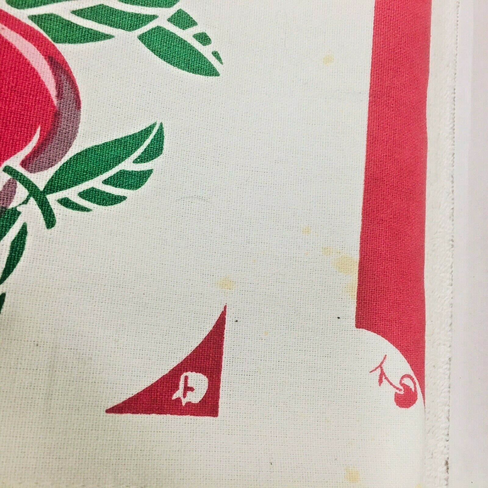 Reproduction Kitchen Toweling Towel Fabric Unsewn Red Cream Green Cherries Apple image 8