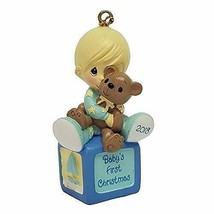 Precious Moments Baby's First Christmas 2018 Boy with Teddy Bear Ornamen... - £7.55 GBP