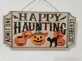 """Halloween Vintage Style HAPPY HAUNTING Black Cat Wall Ticket Sign Decor 12"""" - $26.99"""