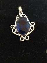 Fashion Blue Crystal Necklace Pendant Ornamental 925 Silver Ships N 24h - $40.37