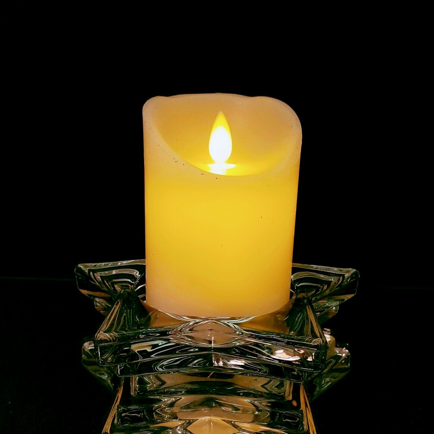 2 (Two) HOME INTERIORS Lead Crystal Pentacle Star Candle Base image 7