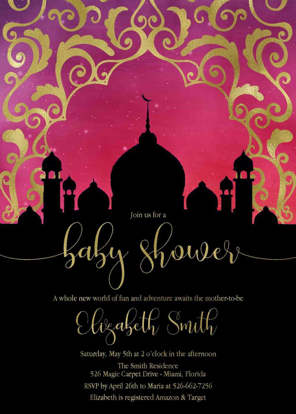 Arabian nights baby shower invitation