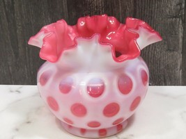 """Fenton Vintage White Pink Cranberry Opelescent Ruffled Coin Spot  Dot Vase 5"""" - $33.66"""