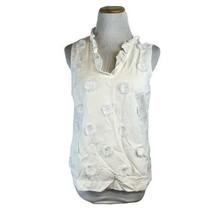 Talbots Women's White Sleeveless Tufted Button Front Shirt Size Small Pe... - $22.49