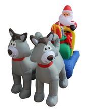 Christmas Inflatable Santa Claus Husky Dog Sleigh Sled Garden Balloon De... - $105.00