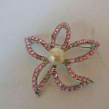 Vintage Pink Rhinestone Faux Pearl Flower Pin Brooch - $17.81