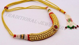 GORGEOUS CHOKER VINTAGE STYLISH TRIBAL NECKLACE PENDANT 22K GOLD BEADS J... - $1,504.79