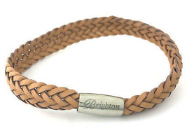 Brighton Woodstock Woven Leather Bracelet, Nude, Size S, New - $37.99
