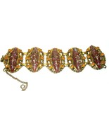 LARGE WIDE RHINESTONE THERMOSET LUCITE BRASS TONGUE CLASP VINTAGE BRACELET - $150.00
