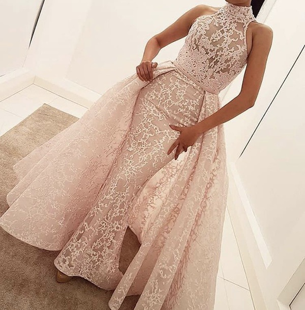 high neck wedding dress lace long prom dress ball gowns evening dress,H052
