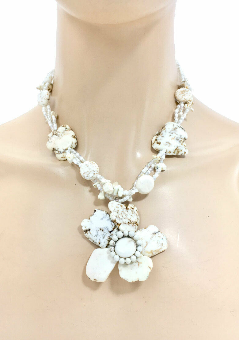 Primary image for Statement Flower Chunky Necklace Earrings Creamy White Simulated Natural Stones