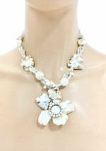Statement Flower Chunky Necklace Earrings Creamy White Simulated Natural... - $18.05