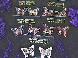 Vintage 1980's Cloisonne Enamel Butterfly Gold Tone POST Earrings (1 pair) - $3.47