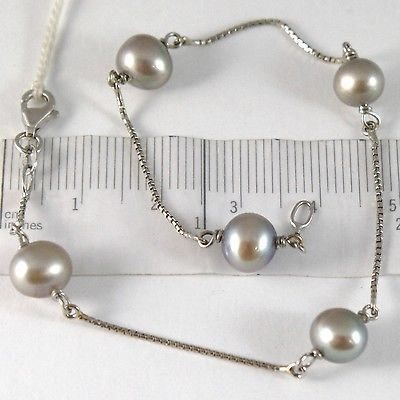 BRACELET WHITE GOLD 750 18K, PEARLS GREY DIAMETER 7-8 MM, CHAIN VENETIAN