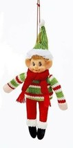 KURT ADLER RETRO STUFFED KNIT FABRIC ELF w/ SWEATER & GREEN HAT XMAS ORN... - $7.88