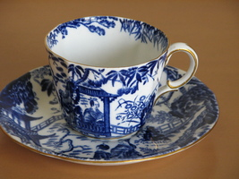 Vintage Tea Cup Saucer Royal Crown Derby- Blue Mikado Design- 1940s, Stained Cup - $19.97