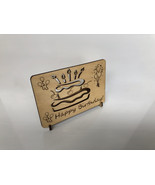 Cake and Candles Birthday Card - Laser Cut Wood - $20.00