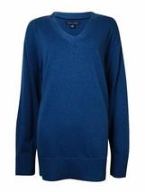 Tommy Hilfiger Women's V-Neck Sweater Poseidon Blue XL X-Large [14171] - $39.38 CAD
