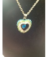 necklace heart With Silver Long Chain Rhinestone - $3.17