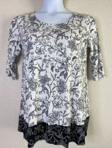 J. Jill Womens Size M Wearever Collection Floral Tunic 3/4 Sleeve - $17.82