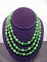 Lisner Triple Stand Green Bead Necklace Super Pretty Colors - $34.65