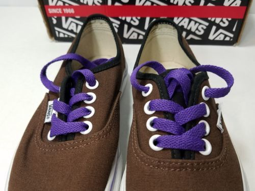 VANS AUTHENTIC CUSTOM KIDS SHOES UNISEX BROWN PURPLE BOYS/GIRLS YOUTH 3.5 SZ 4