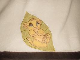 Disney The Lion King Simba Baby Cub on Leaf Blanket Cream Ivory Brown Trim - $21.29