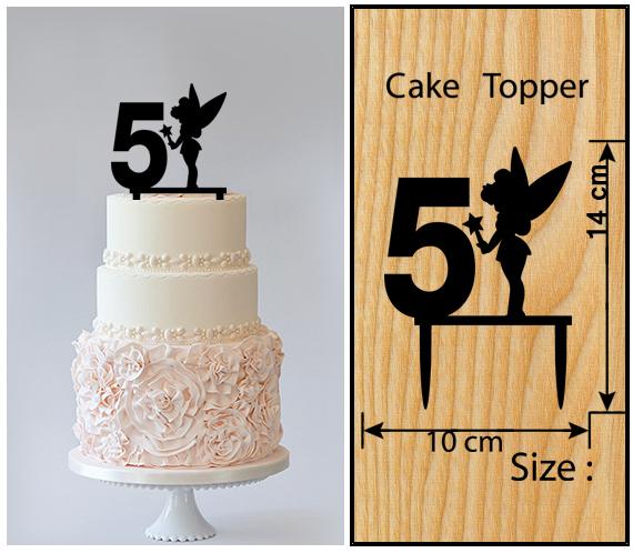 5th Birthday Anniversary Cake TopperCupcake Toppersilhouette Tinkerbell 11 Pcs