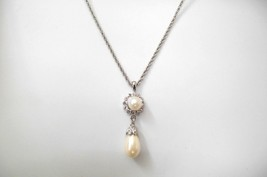 Carolee Pearl Pendant Necklace Crystal Accents Special Occasion Prom Wed... - $19.79