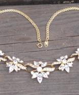 Glamorous Vintage Trifari TM Three Flower Rhinestone Crystal Necklace - $255.00