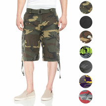 Men's Tactical Combat Military Army Cotton Twill Camo Cargo Shorts With Belt image 1