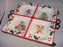 """Block  Christmas Basics Whimsey 12"""" Handpainted  Tidbit Tray with Stand ... - $29.95"""