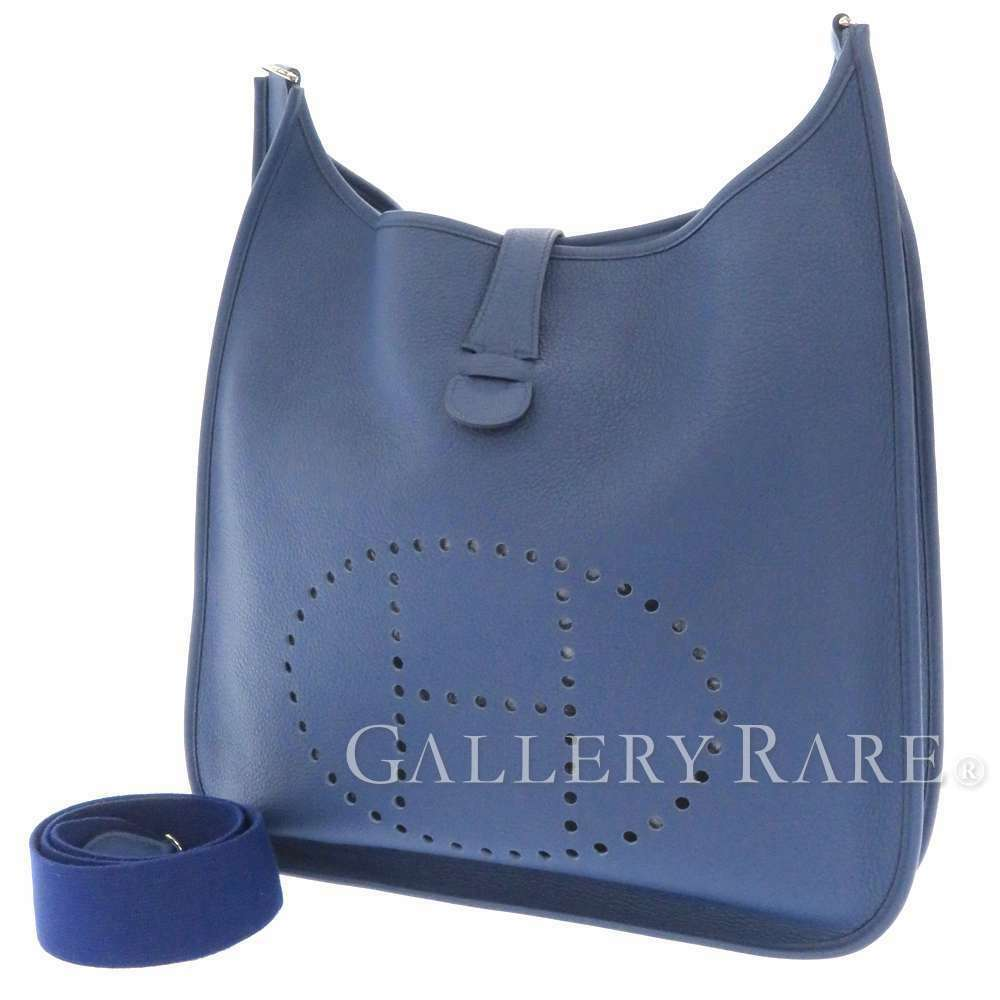 HERMES Evelyne 2 TGM Taurillon Clemence Blue Brighton Shoulder Bag #K Authentic