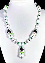 "17"" Snowman artglass bead necklace with snowman pendant - $55.00"
