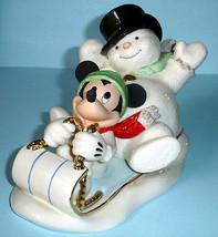 Lenox Disney A SNOWY DAY WITH MICKEY MOUSE & Snowman Racing On A Tabogga... - $86.90